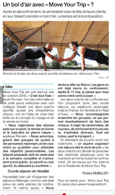 Article Ouest France 25 05 2020